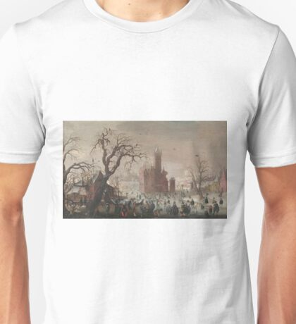 Christoffel Van Den Berghe - A Winter Landscape With Ice Skaters And An Imaginary Castle Unisex T-Shirt
