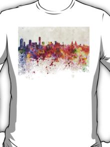 Liverpool skyline in watercolor background T-Shirt