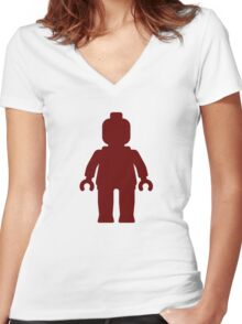 Minifig [Dark Red], Customize My Minifig Women's Fitted V-Neck T-Shirt