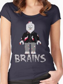 BRAINS ZOMBIE MINIFIG Women's Fitted Scoop T-Shirt