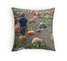 getting lost in a world of pumpkins Throw Pillow