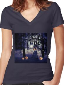 Halloween witch with pumpkin Women's Fitted V-Neck T-Shirt