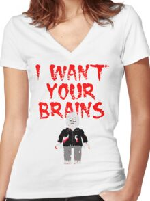 I WANT YOUR BRAINS ZOMBIE MINIFIG Women's Fitted V-Neck T-Shirt