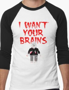 I WANT YOUR BRAINS ZOMBIE MINIFIG Men's Baseball ¾ T-Shirt