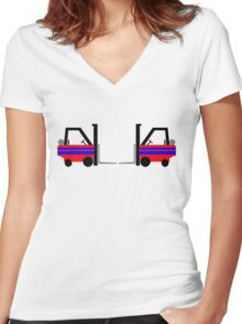 Forklift Precision Driving Team Women's Fitted V-Neck T-Shirt