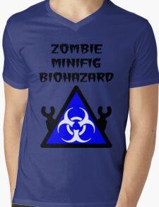 ZOMBIE MINIFIG BIOHAZARD Mens V-Neck T-Shirt