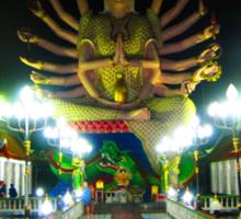 Guayin Statue - Koh Samui's Plai Laem Wat - night shot Sticker