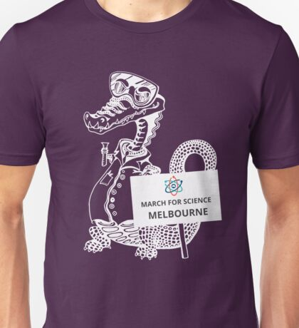 March for Science Melbourne – Crocodile, white Unisex T-Shirt