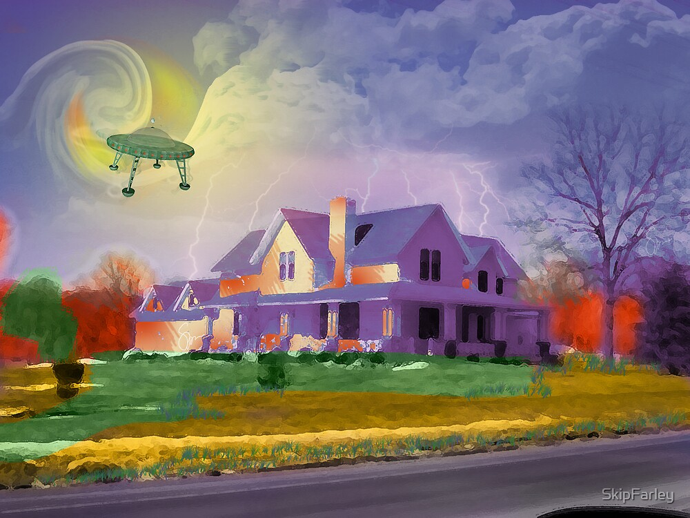 UFO Over Farmhouse by SkipFarley