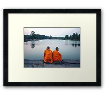 Monks At Holy Pond, Angkor Framed Print