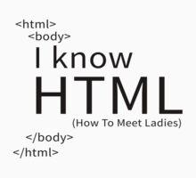 I KNOW HTML (HOW TO MEET LADIES) Kids Tee