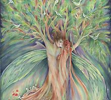 Tree Spirits Fairy Lovers from the original painting by Liza Paizis by Liza Paizis