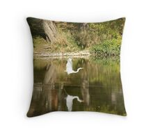 Graceful Flight in Reflection Throw Pillow