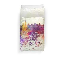 Chicago skyline in watercolor background Duvet Cover