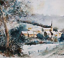 watercolor vencimont village belgium by calimero