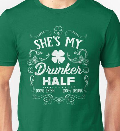 she's my drunker half t shirt 100 Irish 100 drunk Vintage Design  Unisex T-Shirt
