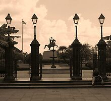 Lamp posts and horseman by Anthony Gale