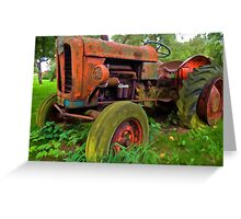 Old vintage tractor digital art Greeting Card