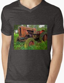 Old vintage tractor digital art Mens V-Neck T-Shirt