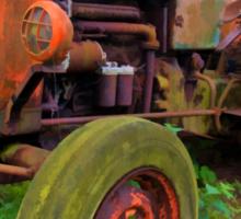Old vintage tractor digital art Sticker