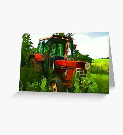 Old vintage tractor digital art manipulation Greeting Card