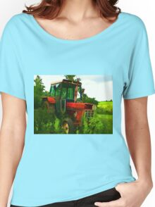 Old vintage tractor digital art manipulation Women's Relaxed Fit T-Shirt