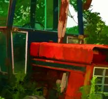 Old vintage tractor digital art manipulation Sticker