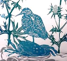 Sand Piper in Sea Holly by BellaBees