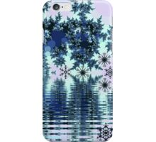 Winter lake with snowflakes iPhone Case/Skin