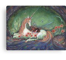 Unicorn and sleeping girl fantasy art by Liza Paizis Canvas Print