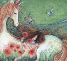 Unicorn and sleeping girl fantasy art by Liza Paizis Sticker