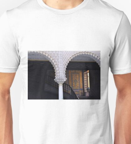 Spanish decorative column and arches in front of staircase Unisex T-Shirt