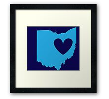 Ohio is Where the Heart is (Blue) Framed Print