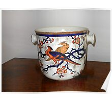 Ornate Container with Flowers and Birds Poster
