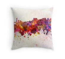 San Francisco skyline in watercolor background Throw Pillow