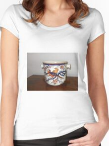 Ornate Container with Flowers and Birds Women's Fitted Scoop T-Shirt