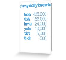 My Daily Tweets Greeting Card