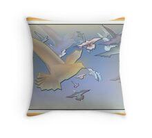 Birds in Frame Canvas texture Throw Pillow