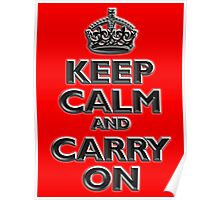 Keep Calm & Carry On, Be British! UK, Britain, Blighty, Chisel on Red Poster