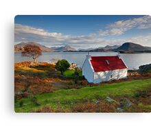The famous Red Roof cottage at Loch Shieldaig Scotland Canvas Print