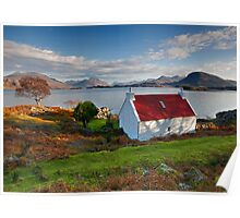 The famous Red Roof cottage at Loch Shieldaig Scotland Poster