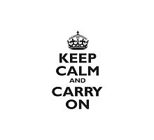 KEEP CALM & CARRY ON, BE BRITISH, UK, PROPAGANDA, IN BLACK by TOM HILL - Designer