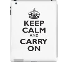 KEEP CALM, & CARRY ON, BE BRITISH, BLIGHTY, UK, WWII, PROPAGANDA, IN BLACK iPad Case/Skin