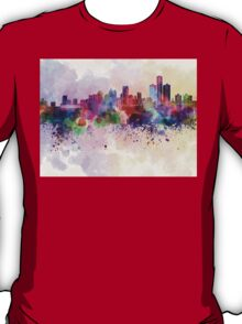 Detroit skyline in watercolor background T-Shirt
