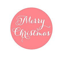 Merry Christmas, coral red dot Photographic Print