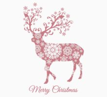 Merry Christmas, coral deer with snowflakes pattern One Piece - Short Sleeve