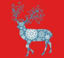 Turquoise blue Christmas deer Kids Tee