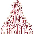 Typographic Christmas tree with hand drawn letters by beakraus