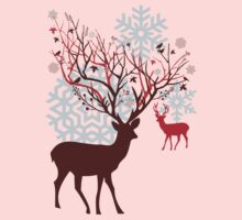 Christmas deer with tree branch antlers and birds Kids Clothes