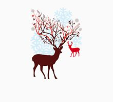 Christmas deer with tree branch antlers and birds T-Shirt